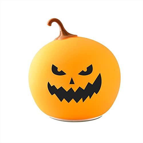 GOLDEN MANGO Faroles redondos de calabaza de Halloween, luces de noche, luces de ambiente festivo, lámparas de mesa de accesorios decorativos coloridos