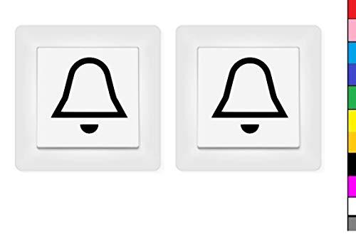 generisch 2X Glocke Aufkleber Schalteraufkleber Schalter Glocke Klingel (246/3/2) (Schwarz Glanz, 4 x 4 cm)
