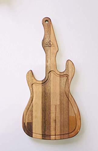 Handmade Electric Guitar Cutting Board from Repurposed Hardwoods