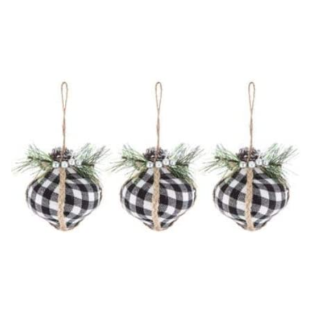 12 Blk//Wht Buffalo Plaid Flannel Rag Balls Rustic Farmhouse Tree Ornaments,New