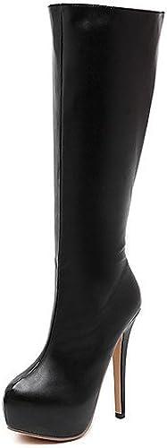 Xzz femme Chaussures Stiletto Talon Bout Rond Bottes Robe Robe Noir
