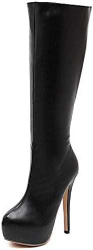 Xzz femme Chaussures Stiletto Talon Bout Rond Bottes Robe Noir