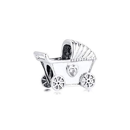 Pandora 925 plata esterlina colgante Diy bebé plata esterlina cochecito perlas claro cz cuentas encantos para la fabricación de joyas encaja pulseras encanto original kralen
