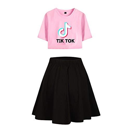 Tik TOK Afdrukken Crop Top T-shirts en rok Kledingpak 2 stuks Sportkleding T-shirts en rok voor vrouwen Meisje T-shirt met korte mouwen Trainingspak Activewear