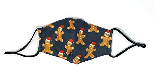 DM Merchandising Kid's Children Funny Christmas Xmas Protective Mask Care Cover, Cotton Lined, Filter Pocket, Adjustable Straps (Gingerbread Men)