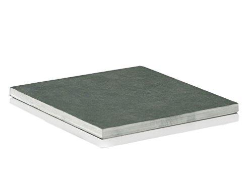 AMABIENTE - Designcandles Designcandles Kubus Platte aus Schiefer Kerzenplatte, Naturstein, 14.8 x 14.8 x 0.9 cm, anthrazit