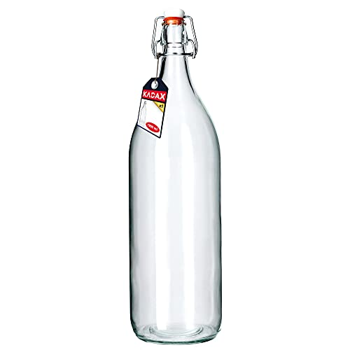 KADAX Botella de cristal, botella de licor de frutas, botella vintage de cristal de soda, botella transparente con cierre de clip, botella de licor (1,9 L, 1 pieza)