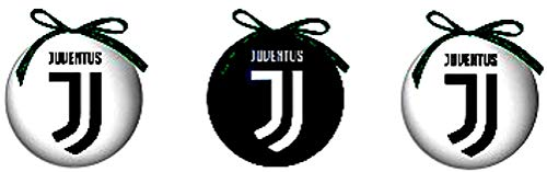 Giemme Set 3 Pezzi Palle di Natale Juventus Ufficiali Palline per Albero SET3PALNATJU2290