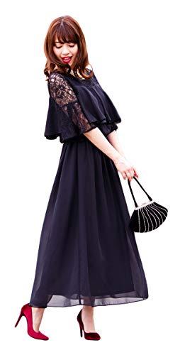 [アールズガウン]結婚式 ワンピース 披露宴 大きいサイズ レディース お呼ばれ 母親 ロングドレス 体型カバー フォーマル 袖あり FD-1171574(XL,ブラック)