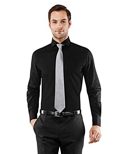 Vincenzo Boretti Herren-Hemd Haifisch-Kragen bügelfrei 100% Baumwolle Slim-fit tailliert Uni-Farben - Männer lang-arm Hemden für Anzug Krawatte Business Hochzeit Freizeit schwarz 39-40