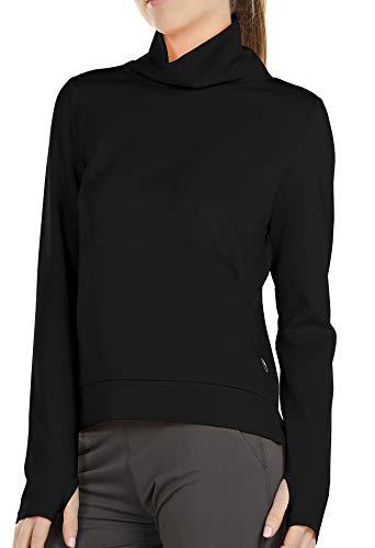 icyzone Damen Rollkragen Langarm Sweatshirt Basic Einfarbig Oberteile Rollkragenpullover (XL, Schwarz)