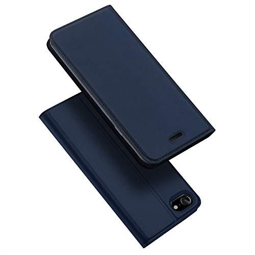 DUX DUCIS Hülle für Apple iPhone 7 / iPhone 8 / iPhone SE 2020, Leder Klappbar Handyhülle Schutzhülle Tasche Case mit [Kartenfach] [Standfunktion] [Magnetisch] (Blau)