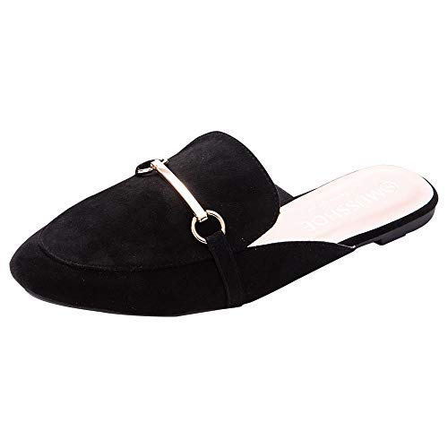 MUSSHOE Womens Buckle Mule Shoes Backless Slip-on Loafer