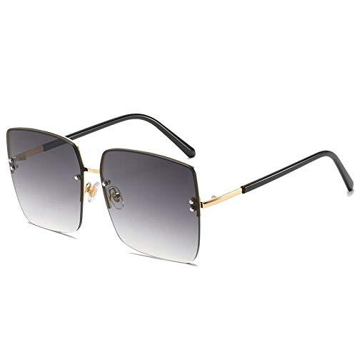 Sonnenbrillen,Quadratische Sonnenbrille Netto Rote Straße Erschossen Persönlichkeit Meter Meter Rahmenlose Brille Mode Gradient Sonnenbrille Frauen, Doppelgrau Film