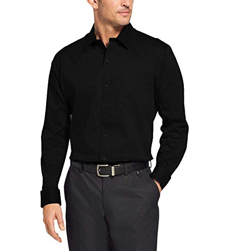Camisa Social Masculina Bom Pano Manga Longa Lisa Preta