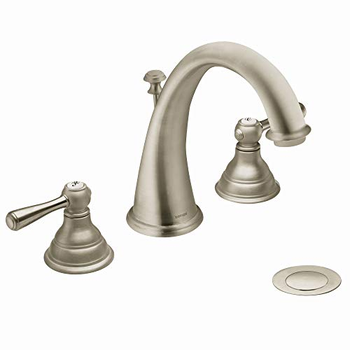 Moen T6125BN Kingsley Two-Handle Widespread High-Arc Bathroom Faucet, Valve Required, Brushed Nickel