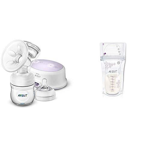 Philips Avent SCF332/31 - Sacaleches, extractor de leche eléctrico silencioso, con cojín masajeado, incluye biberón + Philips Avent SCF603/25 - Pack de 25 bolsas para almacenaje de leche materna