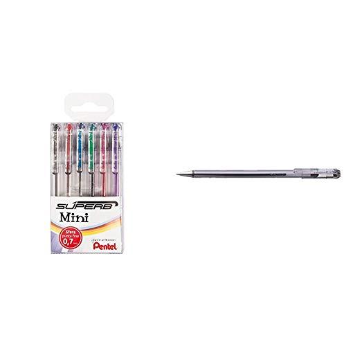 Pentel Superb Negro, Azul, Verde, Rosa, Rojo, Violeta 6pieza(s) - Bolígrafo + Superb BK77-A - Pack de 12 Bolígrafos con tinta a base de aceite y punta de 0,7 mm