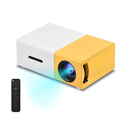 Vbestlife Mini Proyector LED Portátil 1080P HD Admite HDMI, AV, USB Reproductor Multimedia Altavoces Estéreo Incorporados para Cine en Casa con Estilo (Amarillo)