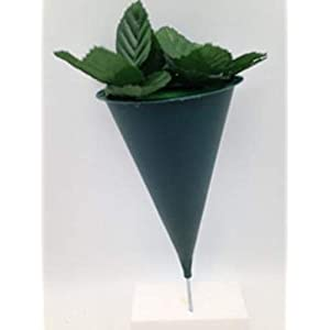 Hard Plastic Cone Cemetery Flower VASE with Non-Removable Metal Spike for Grave-site Presentation in Remembrance of Loved Ones OR Home Garden Use