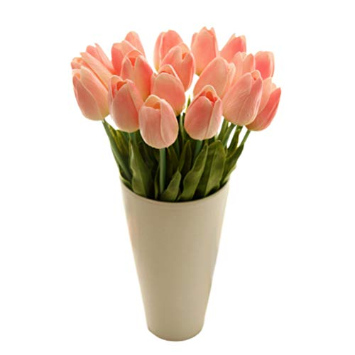 VOSAREA - Ramo de tulipanes artificiales de imitación, 30 unidades, color amarillo, seda sintética, Rosa, Medium