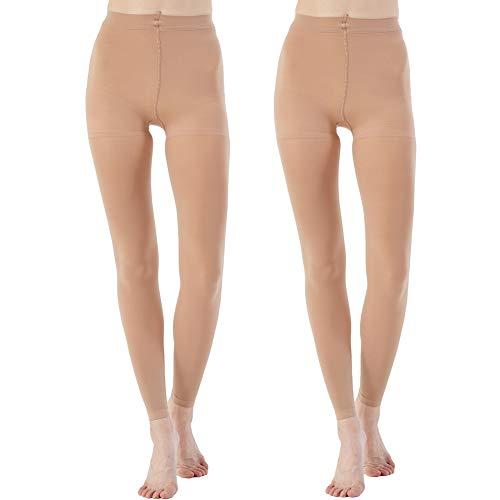 Manzi Damen Strumpfhosen, ohne Fußteil, Tanz, Ballett, 70 Denier, 2 Paar Gr. XL, 2 Paar, hellbraun, ohne Fuß