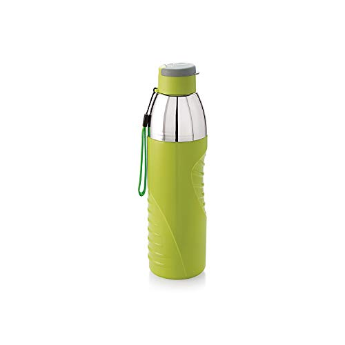 Cello Insulated Kids BPA Free Water Bottle 20 Oz (600 ml) Puro Gliss Plastic Easy Carry Ergonomic Bottle with Wide Mouth & Easy Flip Cap for Office, Gym, Running Reusable Drinking Container (Green)