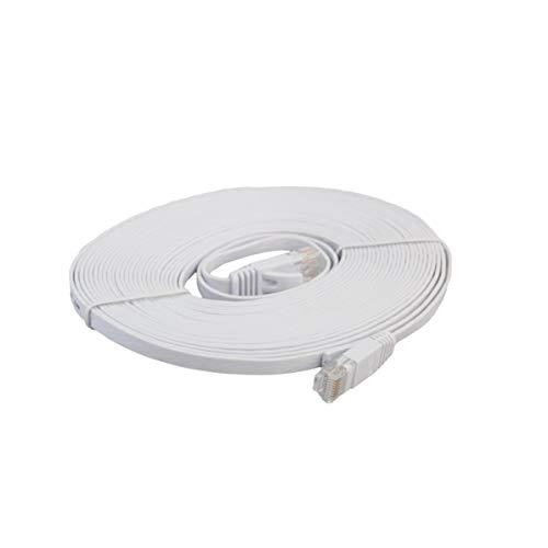 Longspeed CAT6e Flat Ethernet Network Cable LAN Cable de conexión de Cable Ethernet para computadora portátil de transmisión de Alta Velocidad para Oficina en casa - Blanco - 5m