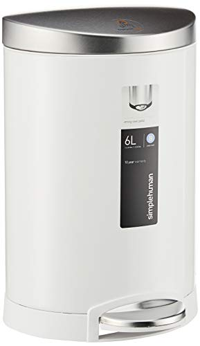 simplehuman 6 Liter / 1.6 Gallon Compact Semi-Round Bathroom Step, White Stainless Steel Lid trash...