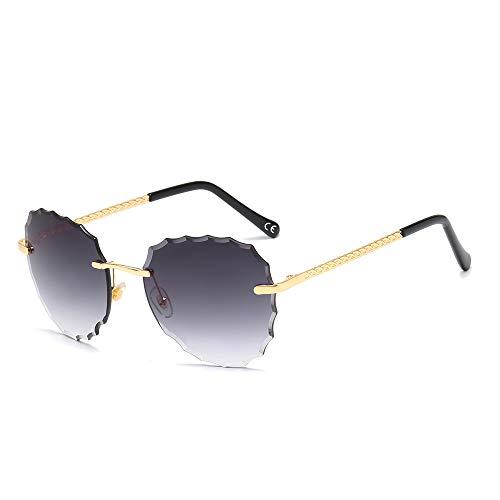 BLEVET Oversized Rimless Dames zonnebril 100% UV400 bescherming ultralicht frame BX019