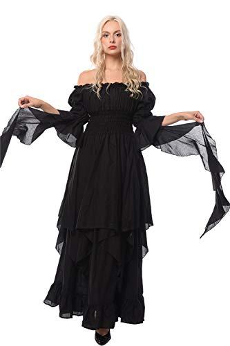 Nuoqi Viktorianisches Nachthemd Gothic Kleidung Damen Mittelalterliches Renaissance Kostüm, Schwarz, S/M