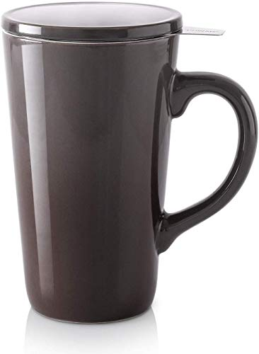 DOWAN Tea Cups with Infuser and Lid, 17 Ounces Large Tea Infuser Mug, Tea Strainer Cup with Tea Bag Holder for Loose Tea, Ceramic Tea Steeping Mug, Grey Color Changing