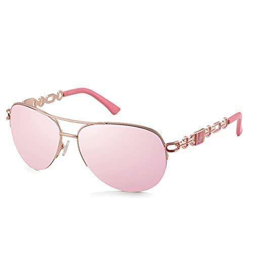 FSCLJ Gafas de Sol clásicas Estilo de Lente Rosa - Tonos de Mujer UV400 Gafas Protectoras de Gran tamaño a la Moda Espejo
