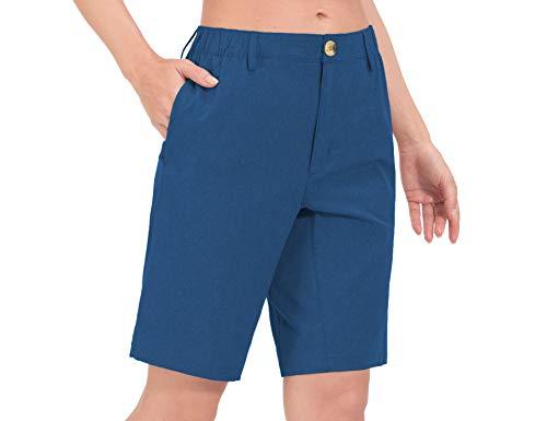Little Donkey Andy Bermudas ligeras de secado rápido UPF 50 para mujer, pantalones cortos elásticos para golf, senderismo, viajes - azul - Large