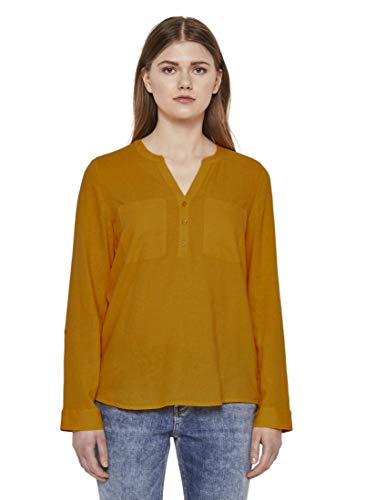 TOM TAILOR Denim Blusen, Shirts & Hemden Tunika mit Turn-Ups orange Yellow, S, 22502, 3000