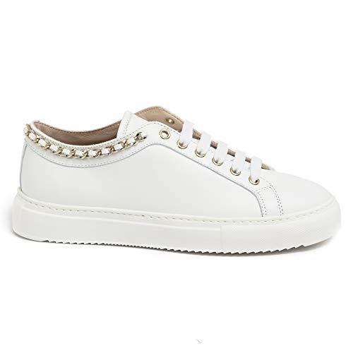 Stokton Damen Sneaker 110 Weiß aus Leder mit Kette - 110D Vit. Acc.weiß - Gr., Weiß - Bianco - Größe: 36 EU