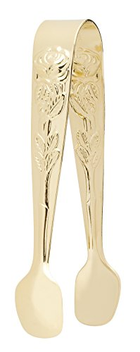 HIC Harold Import Co. 6650G HIC, Gold-Plated Japanese Stainless Steel, 4-Inch, Sugar Tong, Rose