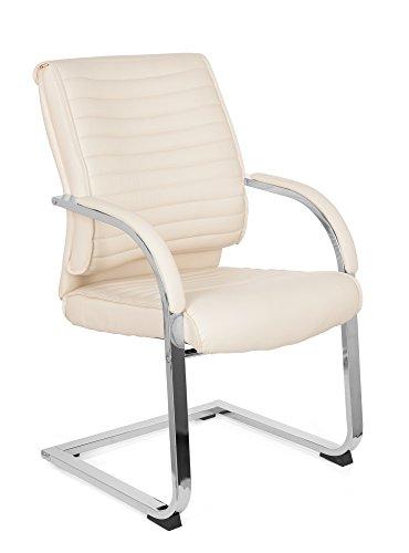 MyBuero 725014 krzesło dla gości, krzesło bujane, sztuczna skóra, kolor kremowo-biały, fotel na płozach na czterech nogach, praca i relaks, podłokietniki, ergonomiczne, krzesło biurkowe, domowe biuro, 725014