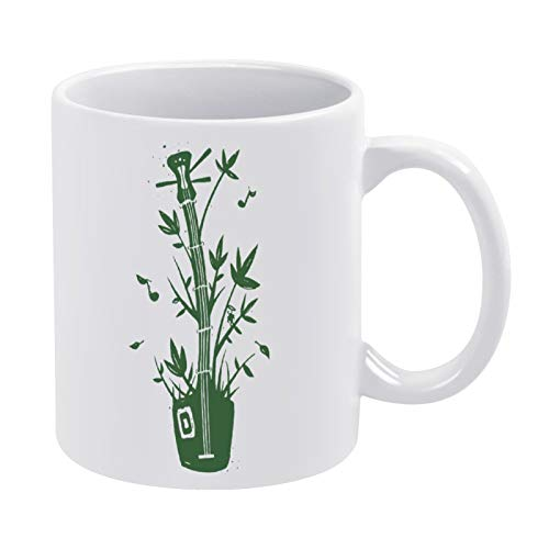Bamboo Music Ceramic Coffee Mug, Best Coffee Tea Cup Unique Festival Birthday Present for Men Women