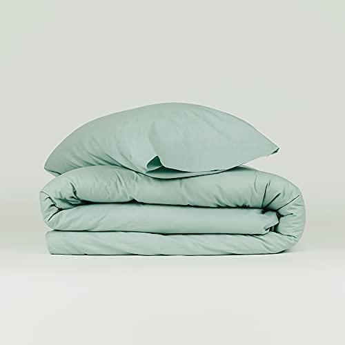 PimpamTex Set copripiumino e federa 100% cotone, copripiumino e federa – letto 150 – 240 x 220 cm, verde tiffany.