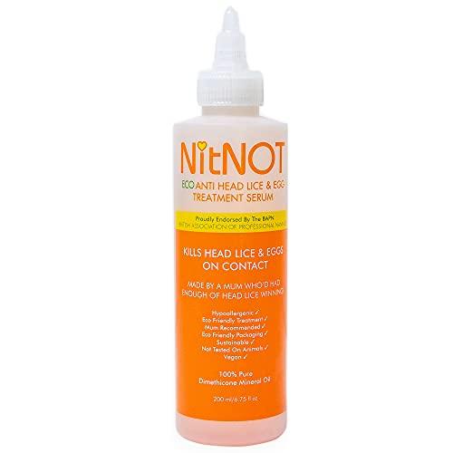 NitNOT Kopfläuse-Behandlung - Tötet alle Kopfläuse und Eier - XL200ml - Mindestens 4 Behandlungen für langes Haar - Sicher - Keine Nebenwirkungen - Einfache Anwendung - Keine...