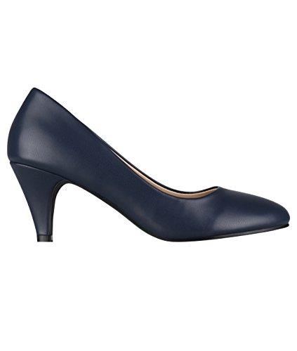 KRISP 5791-NVY-7: Lederimitat Mittelhoher Absatz Schuhe (Marineblau, Gr.40)