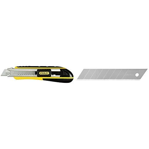 Stanley FatMax Cutter (mit Magazin, 18 mm Klingenbreite, 180 mm Länge) & Abbrechklingen (18 mm, gerade Schneide, 0,55 mm Schneidstärke, 110 mm Klingenlänge, 10 Stück im Spender) 0-11-301