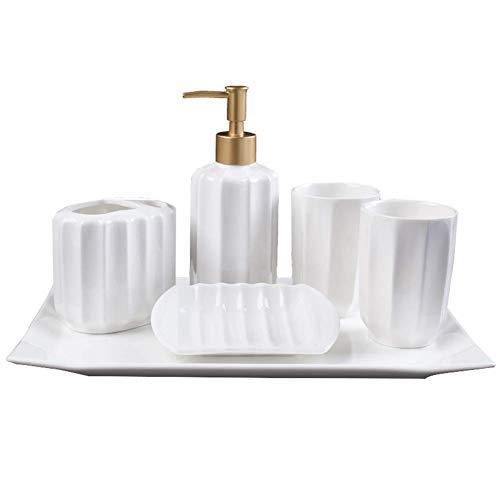 ZLININ Y-longhair - Artículos de tocador de baño de 5 piezas, utensilios de baño de cerámica/taza de cepillo/soporte de cepillo de dientes, botella de loción/soporte de jabón, accesorios de baño