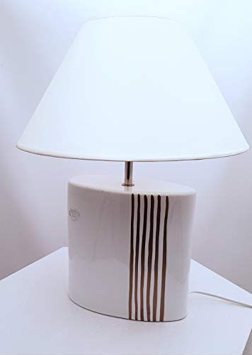 Tafellamp Malaga voet ovaal met gouden strepen - handwerk - scherm in champagne