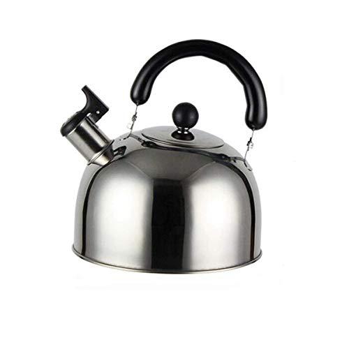 Juego de té 201 hervidor de agua de acero inoxidable, hervidor de agua de pequeña capacidad de 3,0 l, silbido automático, cocina de gas/inducción/horno de inducción, plateado