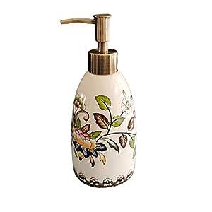 YAOYUE Distributore di Sapone da Sapone da 15 Once Distributore di Sapone in Ceramica con Pompa Design Antico Distributore Ricaricabile for Camera da Letto Bagno