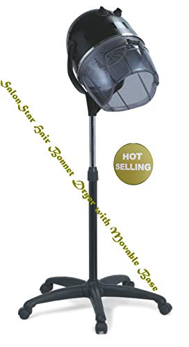 SalonStar Adjustable Hooded Floor Hair Bonnet Dryer Rolling Base with Wheels Salon Beauty Tool