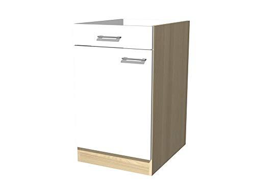 Küchenunterschrank 50 cm breit ohne Arbeitsplatte Creme Weiß Akazie - Ancona