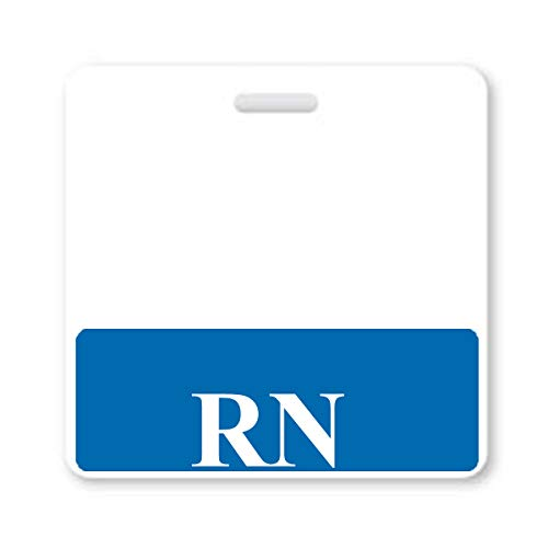 Horizontal RN Badge Buddies for Nurses with Blue Border - Heavy Duty Spill Proof & Tear Resistant - Double Sided - Printed in USA - by Specialist ID, Sold Individually